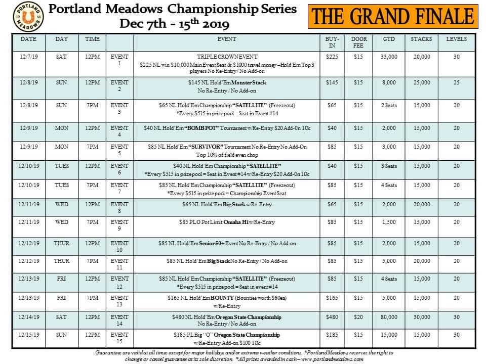 Chinook Winds Casino Poker Tournament Schedule
